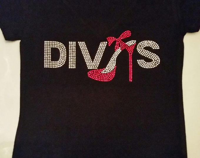 Diva Bling with  Red shoe women shirt