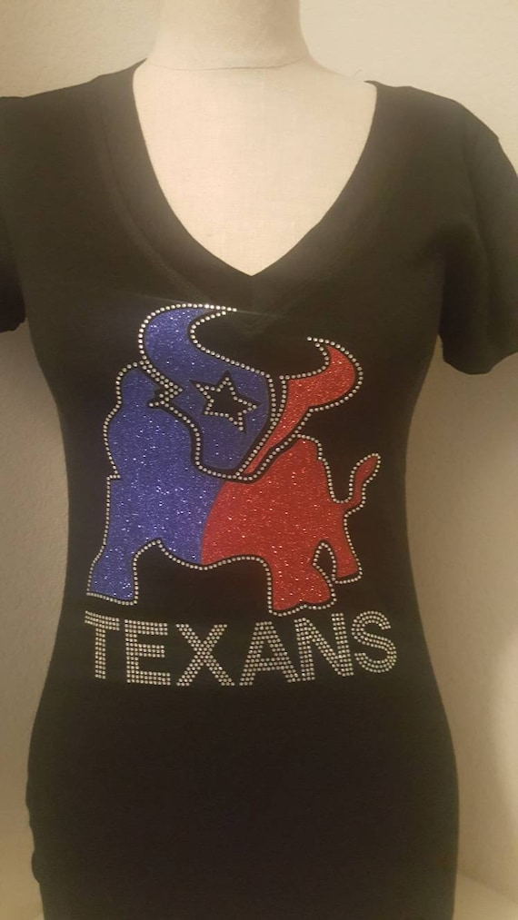 c77ec688 Women Houston FOOTBALL with Rhinestone and Glitter bling shirt,Women  Football Tops, Texans women Football Top