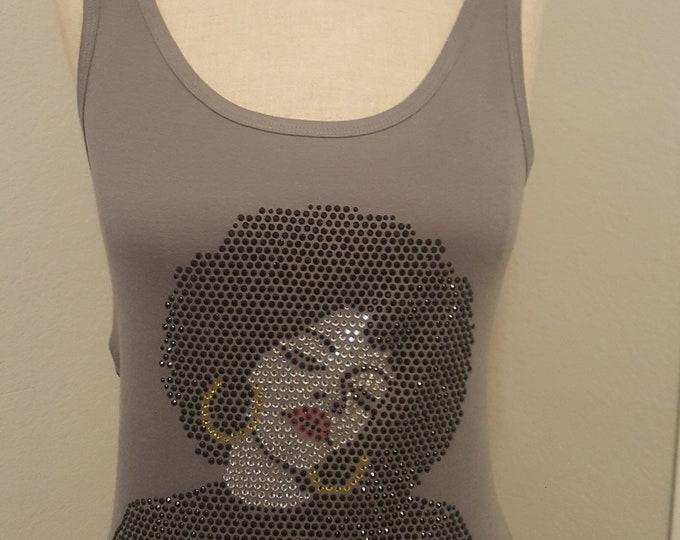 Afro Natural Hair Rhinestone Women tank top Shirt