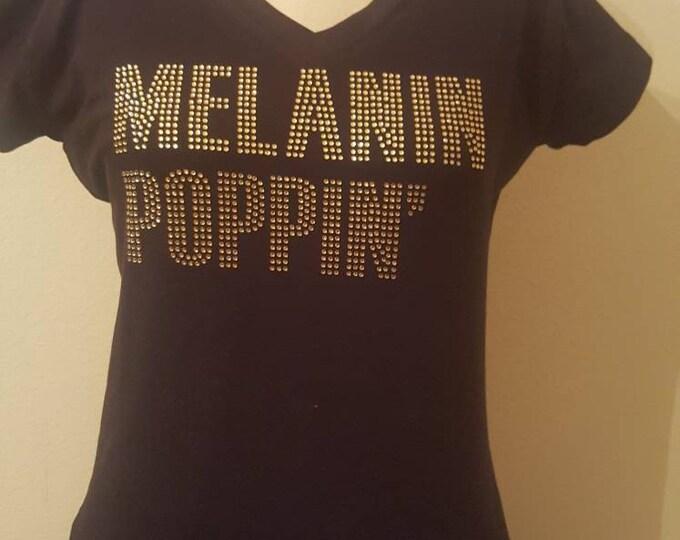 Melanin Poppin Women bling shirt