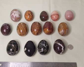 Polished Stone Eggs-14 Count Various Types and Sizes