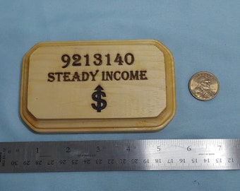 Grabovoi Numbers Steady Income Engraved Wooden Plaque and Dollar Coin-Manifesting Abundance!!