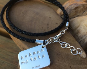 Personalised leather bracelet with sterling silver for men or women, designed fully hallmarked & handmade uk