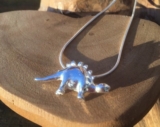 "solid pure silver stegosaurus dinosaur pendant necklace and 18"" sterling silver chain designed & handmade in UK"
