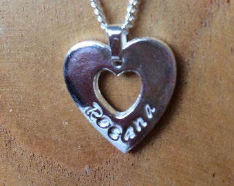 "Personalised Fine Silver Heart Pendant for Valentine Bridesmaid or birthday gift & 18"" solid sterling silver necklace"