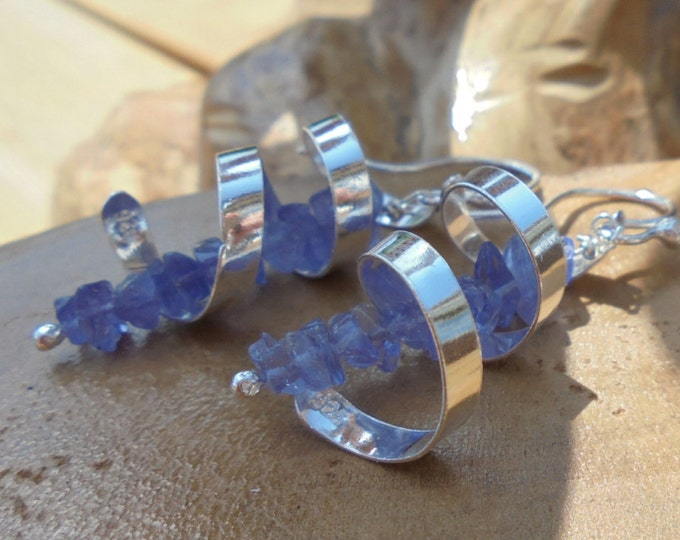 Sterling silver and Tanzanite gemstone earrings, handmade in Gloucestershire, UK.