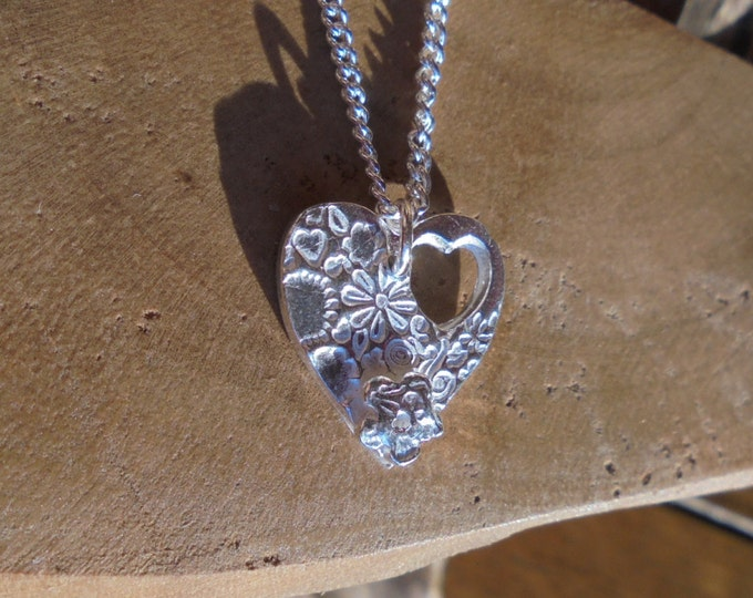"""solid silver heart pendant necklace with forgetmenot flower & 18"""" sterling silver chain designed and handmade in UK"""