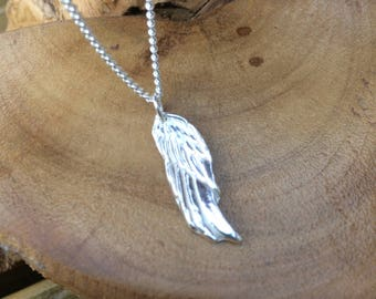 "Personalised angels wing solid silver dainty pendant necklace and 18"" sterling silver chain designed & handmade in UK"