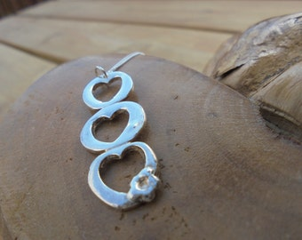 "solid fine silver triple heart pendant with flower and 18"" sterling silver chain designed & handmade in UK"