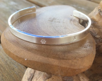 Personalised Sterling silver bangle choice of text and pattern, fully hallmarked & handmade uk