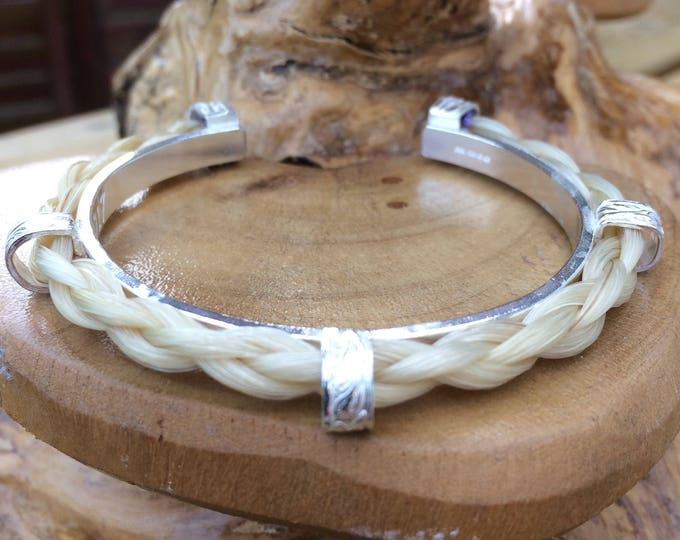 Horsehair Personalised Sterling silver bangle bracelet fully hallmarked, customised designed & handmade uk