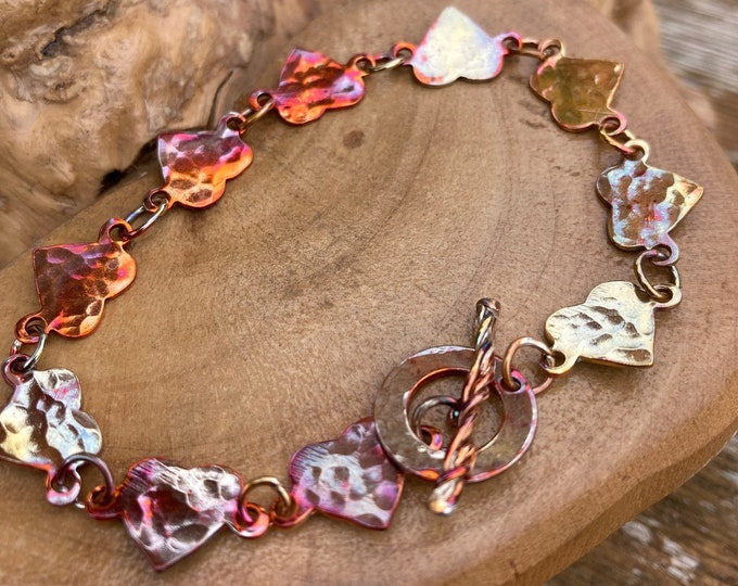 flame painted pure copper heart bracelet. Handmade with  love in Gloucestershire, UK