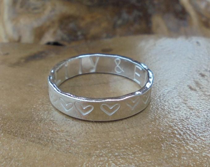 Personalised solid sterling silver ring hammered, dandelion or heart print, designed & handmade in UK