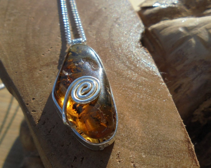 """solid sterling silver and semi precious Amber gemstone pendant unique design with a 18"""" sterling silver curb chain handmade UK"""