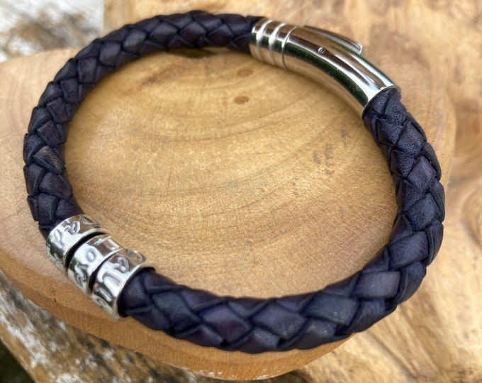 Mens or Ladies leather braided dark blue cuff bracelet with personalised custom message on sterling silver ring beads. Handmade UK