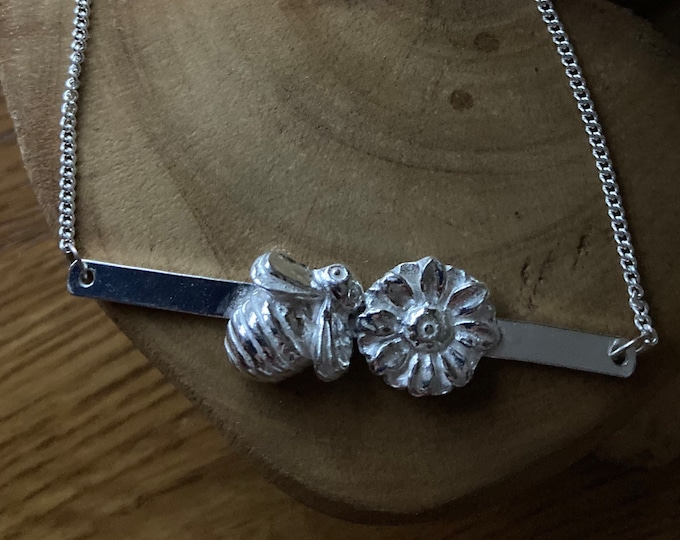Personalised bee solid silver pendant necklace and sterling silver chain designed & handmade in UK