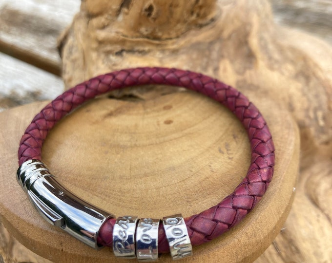 leather braided dusky pink cuff bracelet with personalised custom message on sterling silver ring beads. Handmade UK