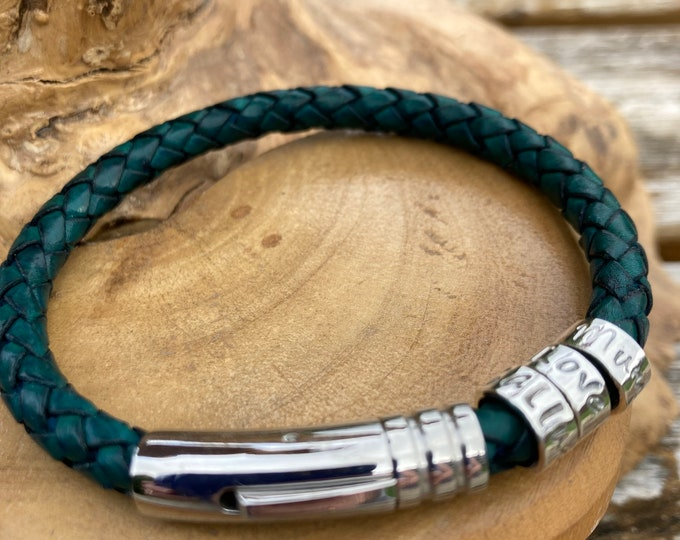 Mens or Ladies leather braided dark teal cuff bracelet with personalised custom message on sterling silver ring beads. Handmade UK