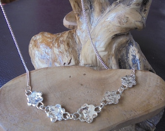 solid sterling silver reticulated daisy chain necklace on sterling silver curb chain designed & handmade uk