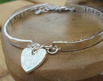 Personalised Sterling silver bracelet, fully hallmarked with choice of fine silver charm