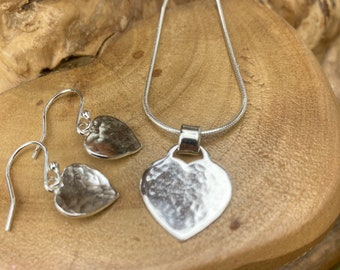 Sterling silver heart pendant & earrings set, Personalised and handmade UK
