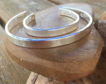 Mum and baby 2 x matching Personalised Sterling silver bangles choice of text and pattern, fully hallmarked & handmade uk