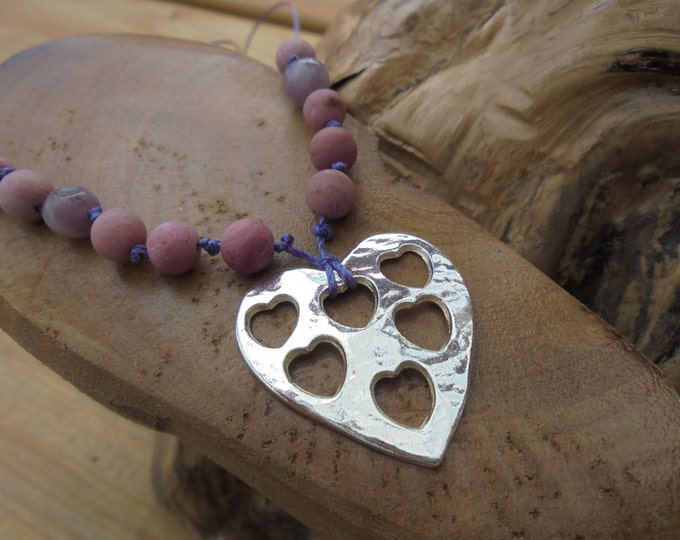 solid silver large heart pendant necklace cut out hearts hand made in UK  on cord necklace with semi precious gemstones