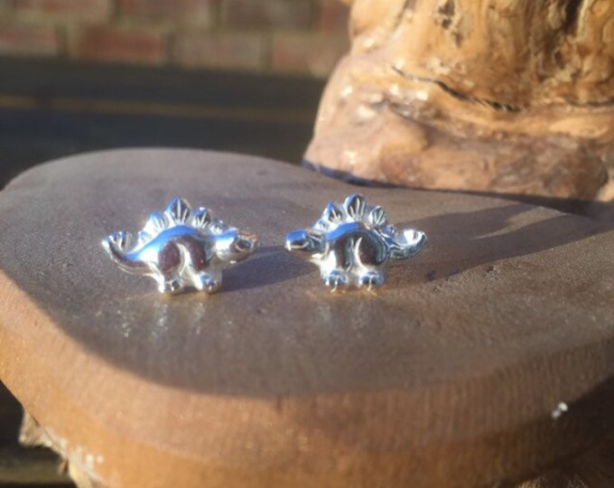 solid pure silver stegosaurus dinosaur earrings designed & handmade in UK