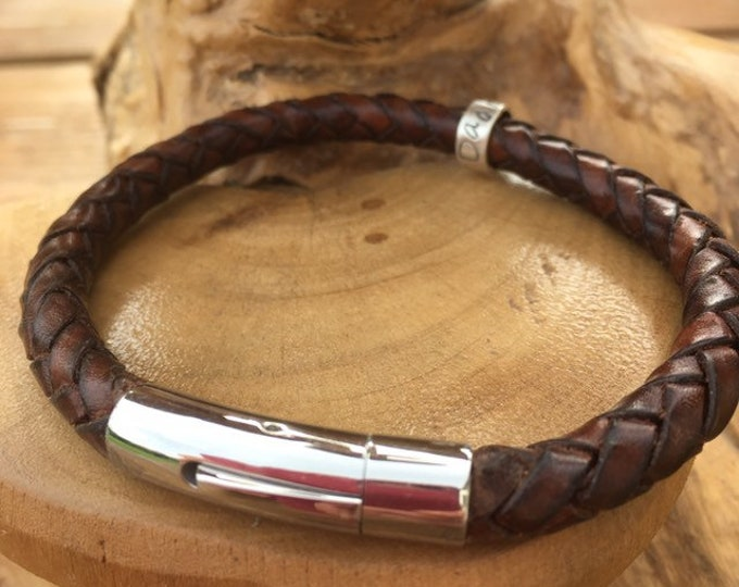 Mens leather braided antique brown cuff bracelet with personalised custom message on sterling silver ring beads. Handmade UK