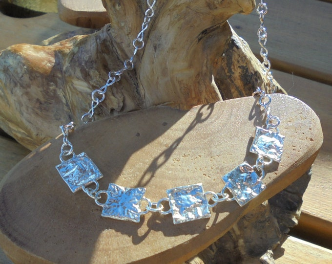 solid sterling reticulated sterling silver squares on handmade infinity sterling silver chain designed & handmade uk