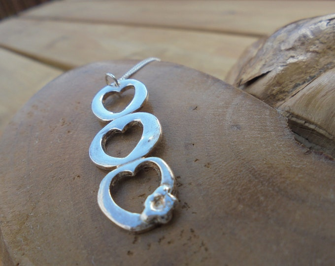 """solid fine silver triple heart pendant with flower and 18"""" sterling silver chain designed & handmade in UK"""