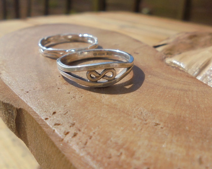 Custom order solid sterling silver infinity duo rings made to order designed & handmade in UK
