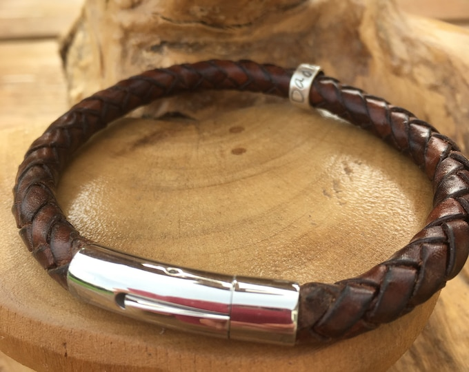 Men's leather braided antique brown cuff bracelet with personalised custom message on sterling silver ring beads. Handmade UK