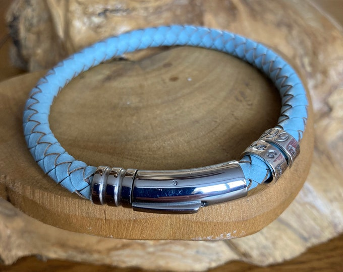 leather braided blue cuff bracelet with personalised custom message on sterling silver ring beads. Handmade UK