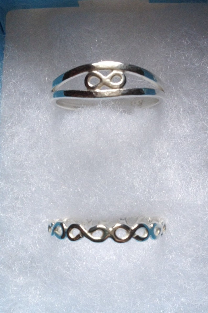 Custom order solid sterling silver infinity duo rings made to order designed /& handmade in UK