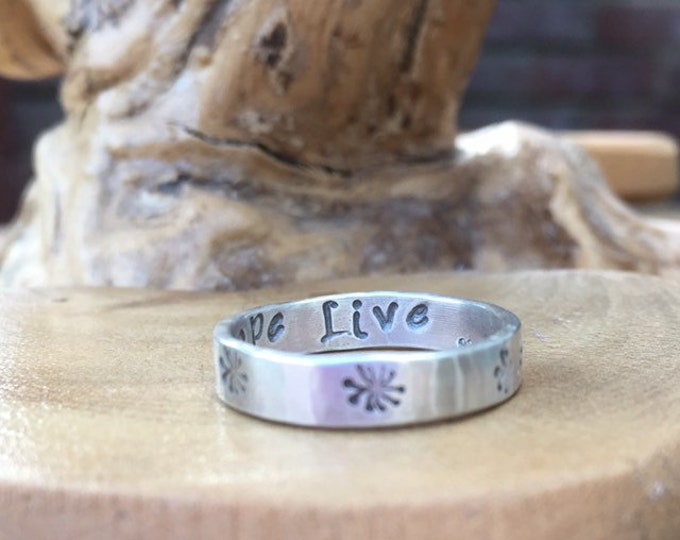 Personalised solid sterling silver wedding or friendship, choice of pattern/text, designed & handmade in UK