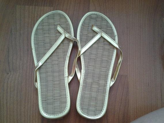 f47866162ca4a Gold Metallic Bamboo Flip Flops