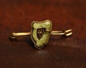 Irish Harp Pin, Carved Connemara Marble, Unusual Antique, Celtic Gift, Shawl Pin, Cravat Pin, Victorian Lyre, Hat Pin