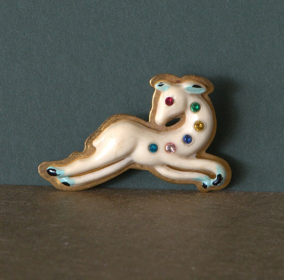 Celluloid Deer Fawn Brooch, Rhinestones and Brass,