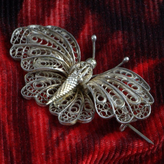 Victorian Butterfly Brooch, Huge Filigree Pin, Ins