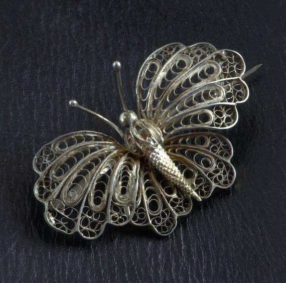 Victorian Butterfly Brooch, Huge Filigree Pin, Ins