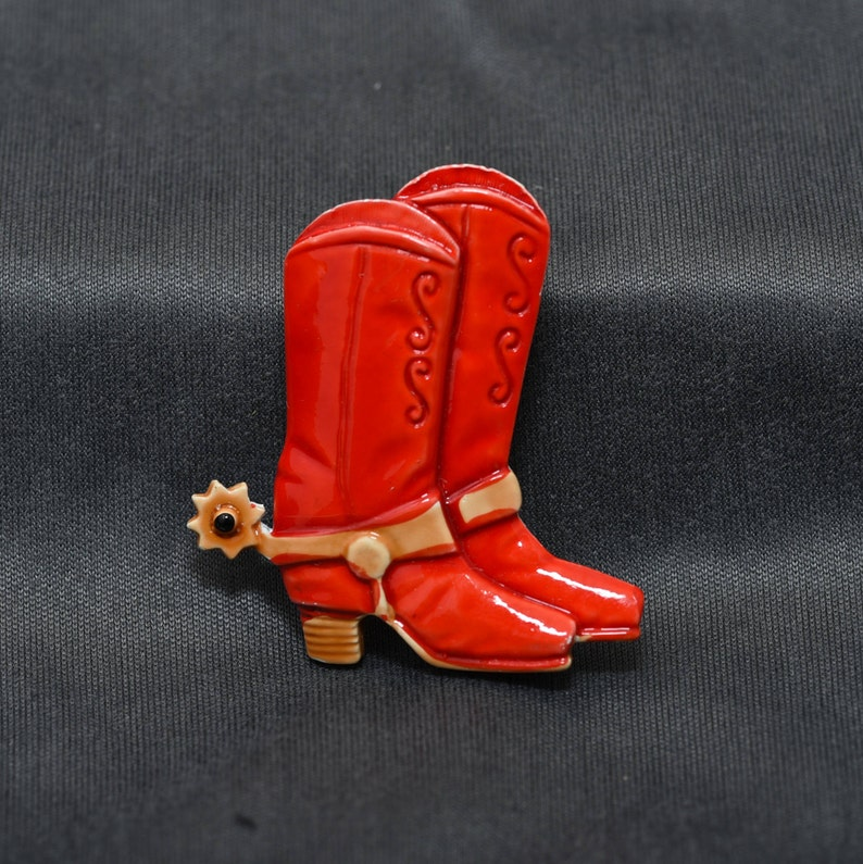 41eaf4dc2b0 Cowgirl Boots Brooch, Cowboy Boots, Boots With Spurs, Enamelled Boots Pin,  Vintage Western Brooch