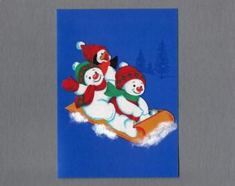 Handmade Fabric Puggy Snowman Sledding Christmas Card