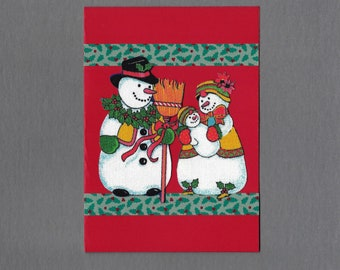 Handmade Fabric Classic Snowman Family Christmas Card
