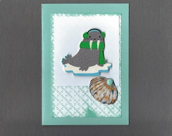 Handmade Fabric Walrus ans Shell Christmas Card