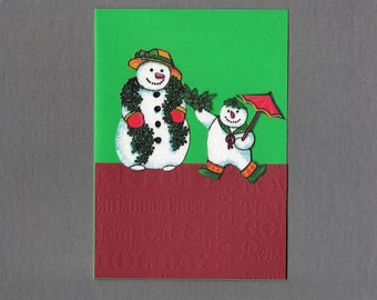 Handmade Fabric Classic Snowman Mother and Son Christmas Card