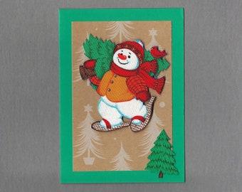 Handmade Fabric Puggy Snowman Snowshoes Christmas Card