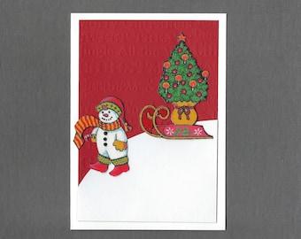 Handmade Fabric Classic Snowman with Sled Christmas Card