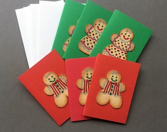 Handmade Fabric Gingerbread Couple Christmas Gift Enclosure Cards Set of 6