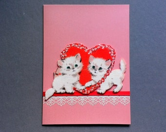Sweetheart Kittens Hand Made Fabric Love or  Valentine's Day Card